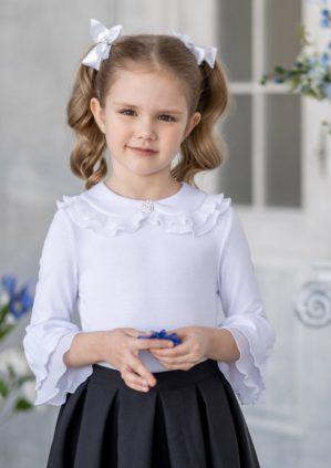"""Блузка """"Кристи"""" школьная трикотажная белая"""