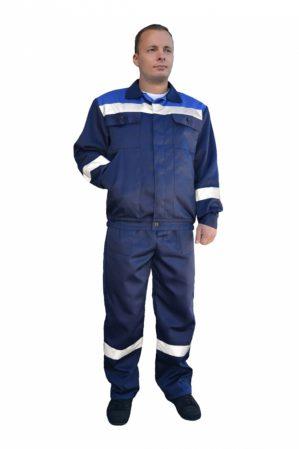 """Костюм рабочий """"Специалист"""" с СОП, куртка+брюки, тёмно-синий с васильковым"""