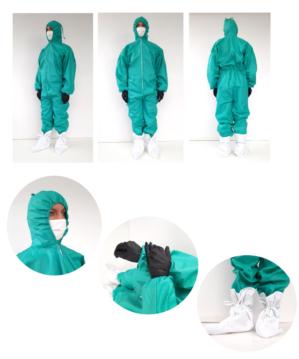Комбинезон защитный многоразовый зеленый из 100% хлопка с грязеотталкивающей и антимикробной обработкой, РУ