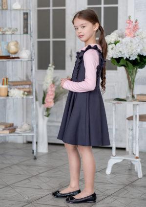 "Сарафан школьный ""Роза"" серый"