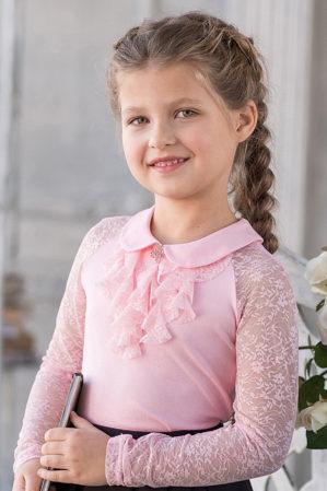 "Блузка школьная ""Флоренция"" трикотажная розовая"