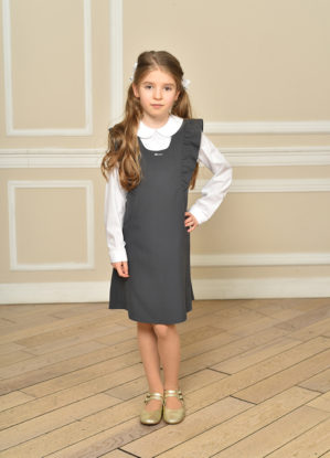 Сарафан школьный серый