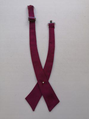 Галстук-галочка школьный бордовый, ткань фактурная