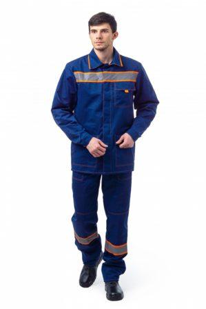 "Костюм рабочий ""Каскад"" куртка+брюки, синий с оранжевым, с СОП"