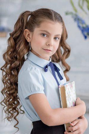 "Блузка школьная ""Октябрина"" голубая"