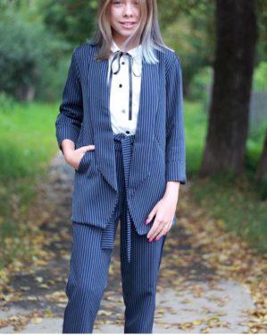 Костюм школьный синий для девочки (пиджак+брюки)
